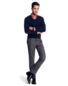 v-neck-sweater-with-grey-pants